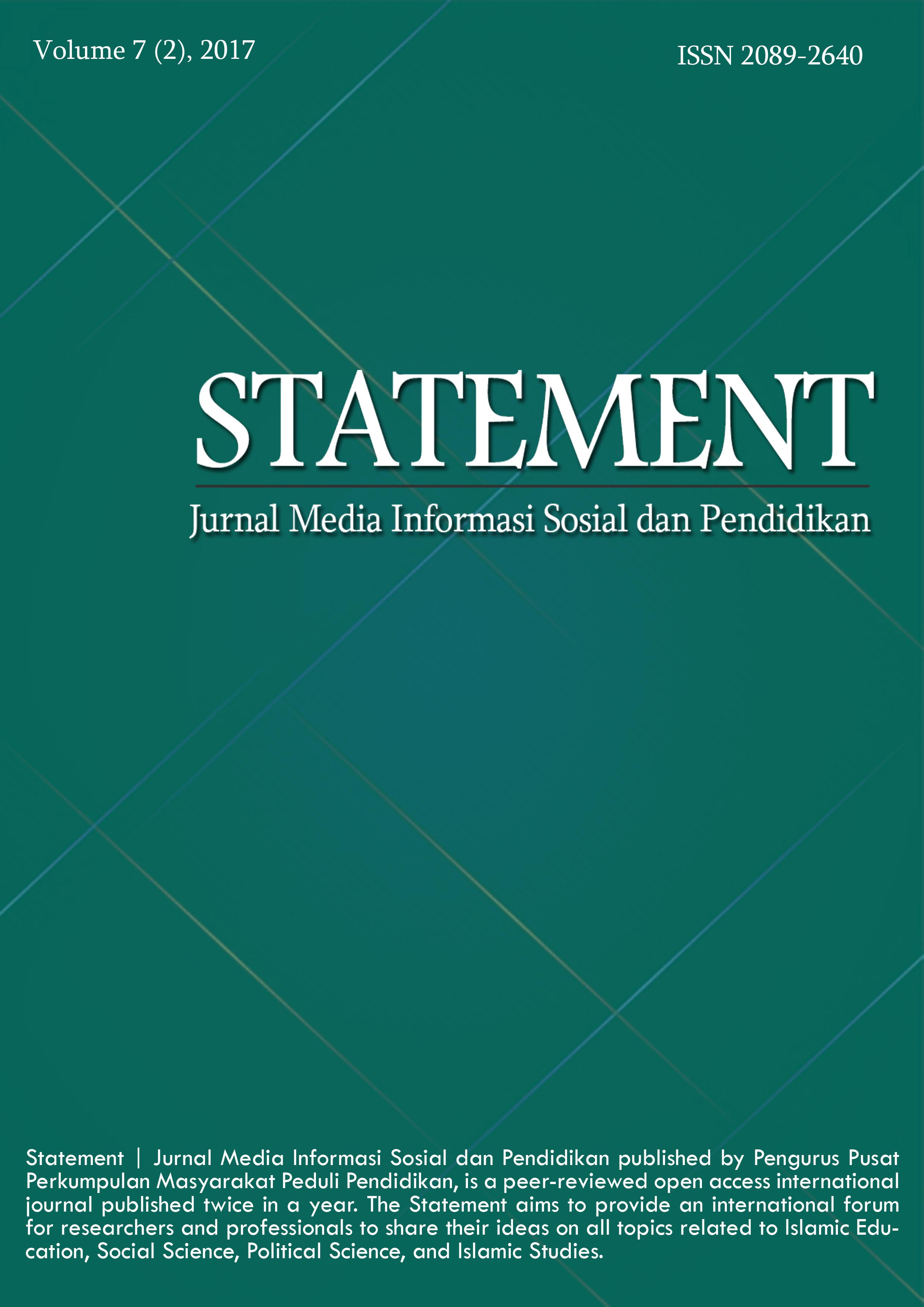 View Vol. 7 No. 2 (2017): Statement | Jurnal Media Informasi Sosial dan Pendidikan